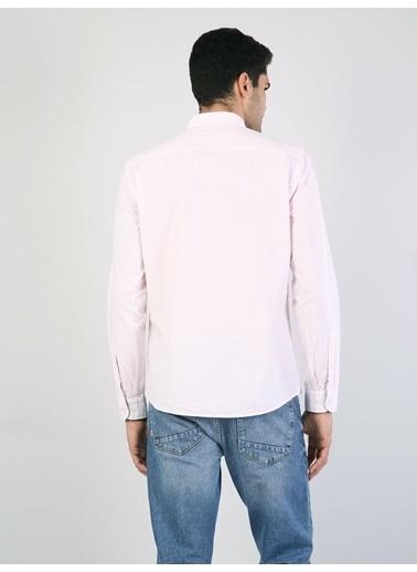 Colin's Regular Fit Placket Neck Erkek Pembe Uzun Kol Gömlek Pembe